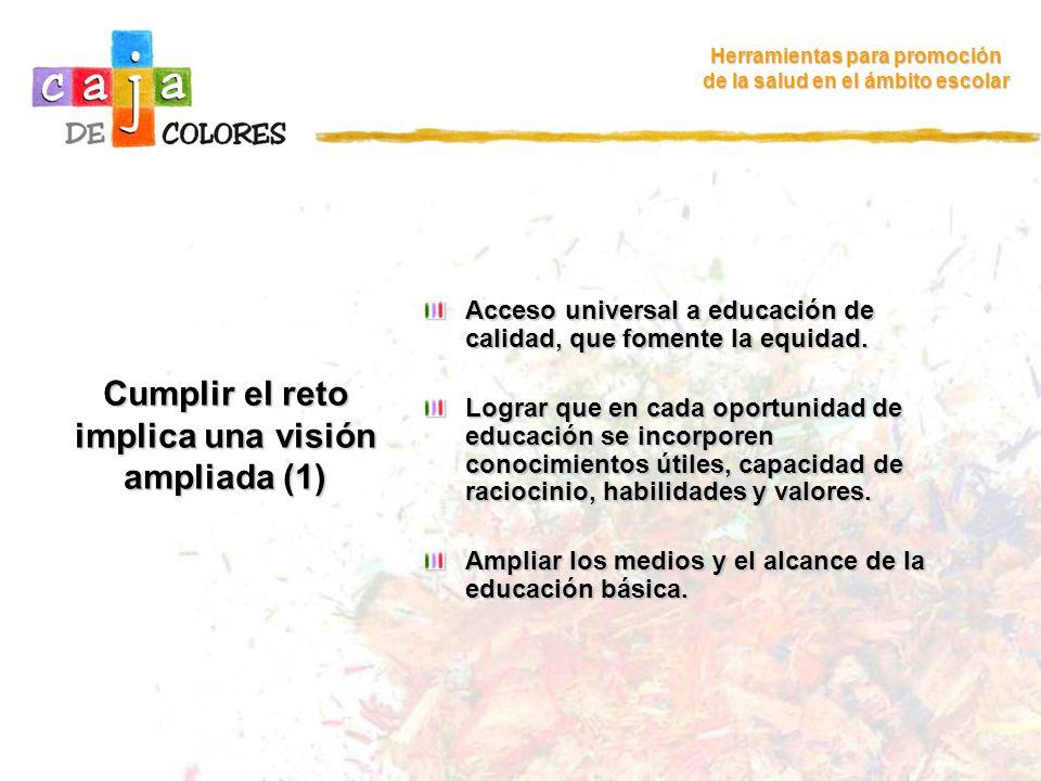 Cumplir el reto implica una visión ampliada (2) Ir al Inicio Ir al Inicio Herramientas para promoción de la salud en el ámbito escolar Mejorar el ambiente para el aprendizaje porque este no se produce en situación de aislamiento.
