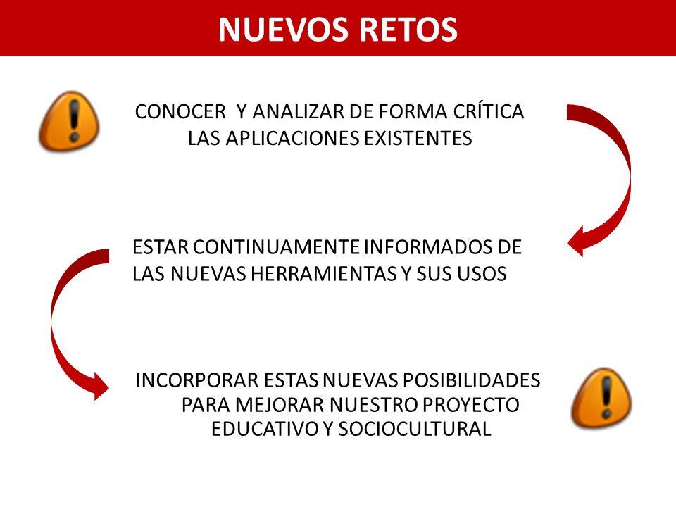 NUEVOS RETOS INCORPORAR ESTAS NUEVAS POSIBILIDADES PARA MEJORAR NUESTRO PROYECTO EDUCATIVO Y SOCIOCULTURAL CONOCER Y ANALIZAR DE FORMA CRÍTICA LAS APLICACIONES EXISTENTES ESTAR CONTINUAMENTE INFORMADOS DE LAS NUEVAS HERRAMIENTAS Y SUS USOS