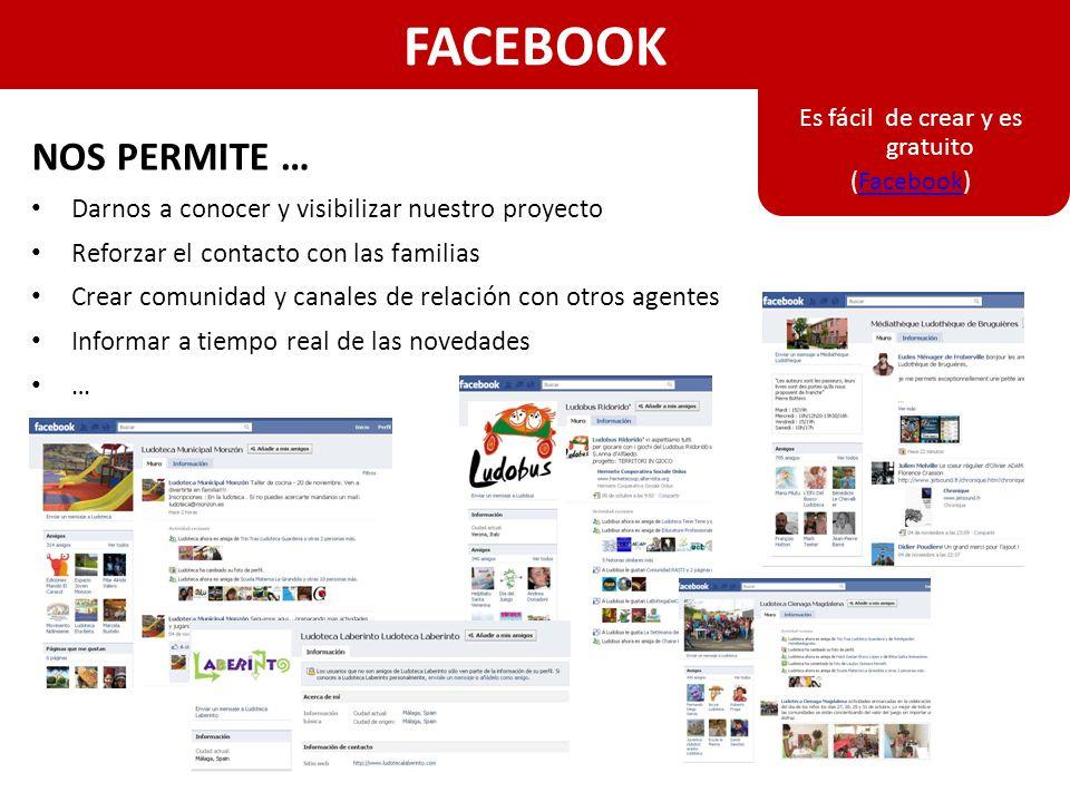 FACEBOOK NOS PERMITE … Darnos a conocer y visibilizar nuestro proyecto Reforzar el contacto con las familias Crear comunidad y canales de relación con otros agentes Informar a tiempo real de las novedades … Es fácil de crear y es gratuito (Facebook)Facebook