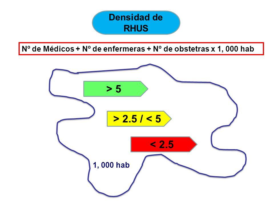 Densidad de RHUS Nº de Médicos + Nº de enfermeras + Nº de obstetras x 1, 000 hab > 5 > 2.5 / < 5 < 2.5 1, 000 hab
