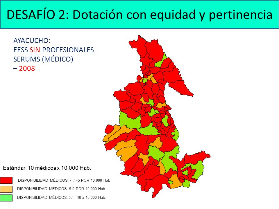 AYACUCHO: EESS SIN PROFESIONALES SERUMS (MÉDICO) – 2008 DISPONIBILIDAD MÉDICOS: < / =5 POR 10,000 Hab.