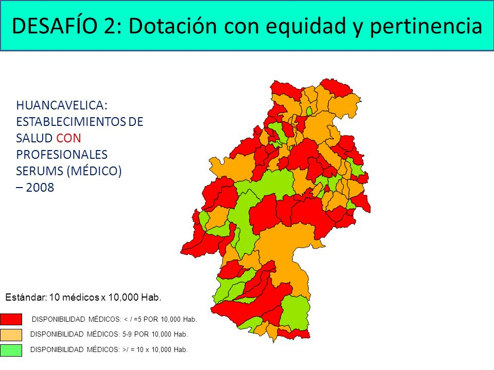 HUANCAVELICA: ESTABLECIMIENTOS DE SALUD CON PROFESIONALES SERUMS (MÉDICO) – 2008 DISPONIBILIDAD MÉDICOS: < / =5 POR 10,000 Hab. Estándar: 10 médicos x