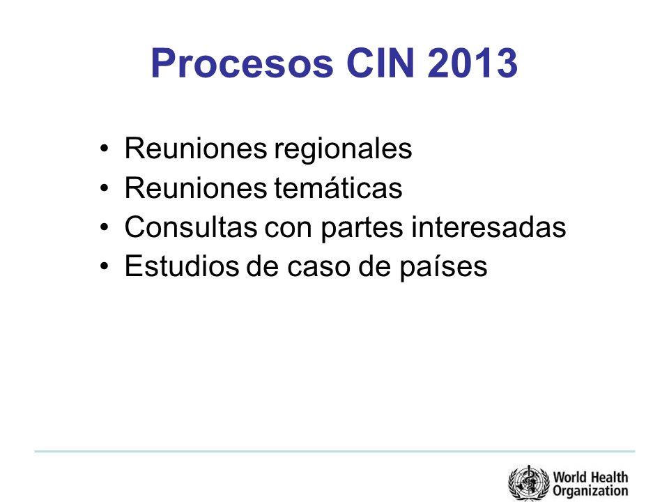 Procesos CIN 2013 Reuniones regionales Reuniones temáticas Consultas con partes interesadas Estudios de caso de países