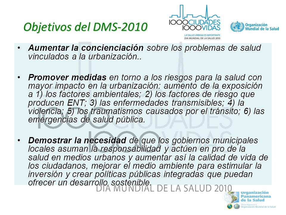 Objetivos del DMS-2010 Aumentar la concienciación sobre los problemas de salud vinculados a la urbanización..Aumentar la concienciación sobre los problemas de salud vinculados a la urbanización..