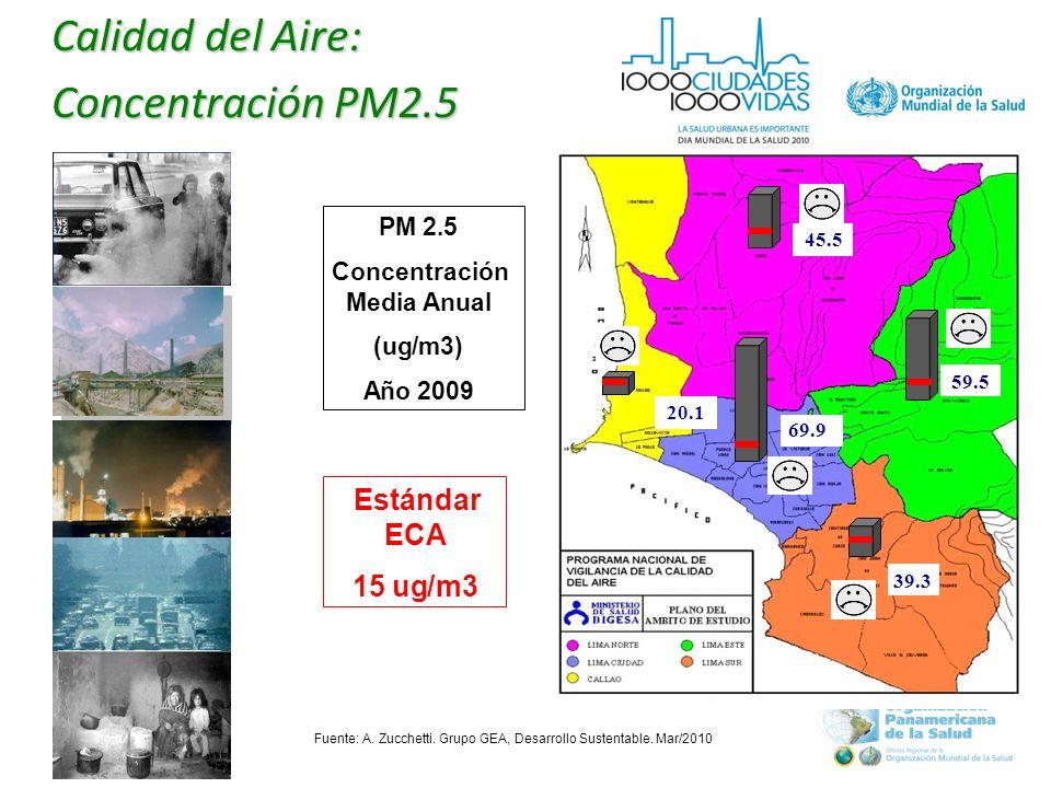 Calidad del Aire: Concentración PM2.5 20.1 45.5 69.9 39.3 59.5 PM 2.5 Concentración Media Anual (ug/m3) Año 2009 Estándar ECA 15ug/m3 Fuente: A.