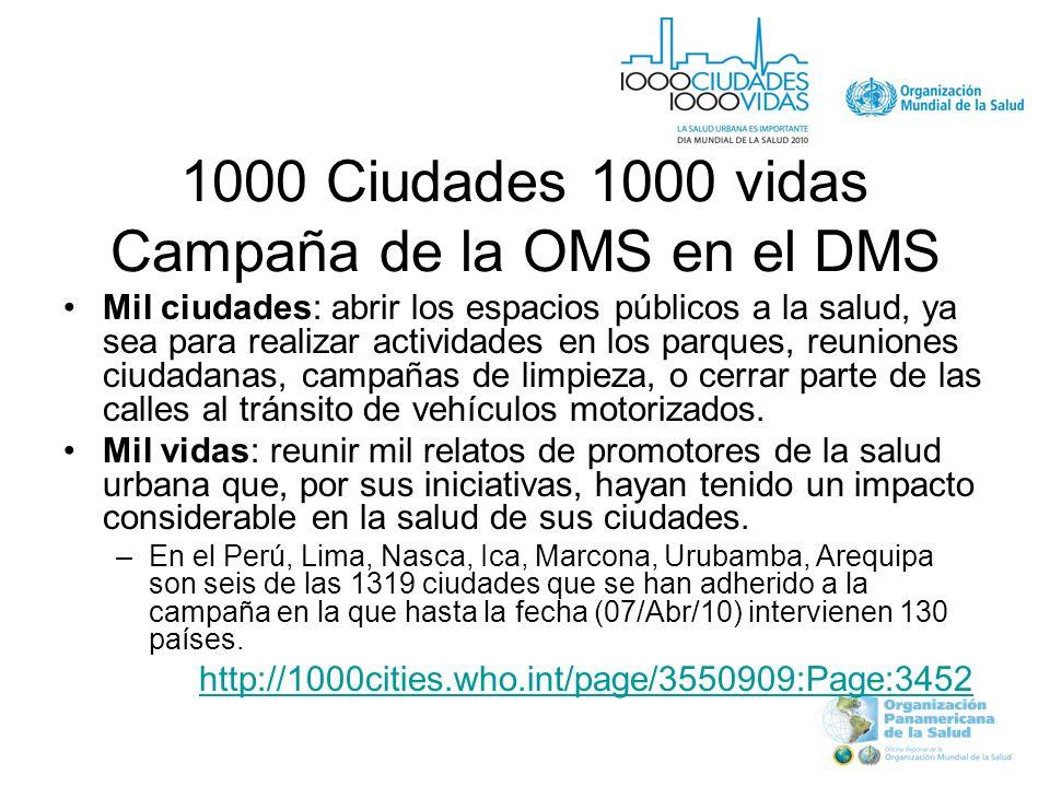 1000 Ciudades 1000 vidas Campaña de la OMS en el DMS Mil ciudades: abrir los espacios públicos a la salud, ya sea para realizar actividades en los parques, reuniones ciudadanas, campañas de limpieza, o cerrar parte de las calles al tránsito de vehículos motorizados.