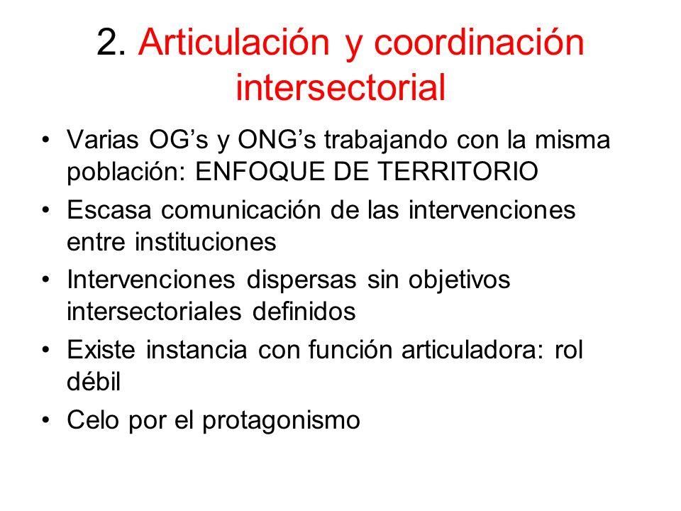 2. Articulación y coordinación intersectorial Varias OGs y ONGs trabajando con la misma población: ENFOQUE DE TERRITORIO Escasa comunicación de las in