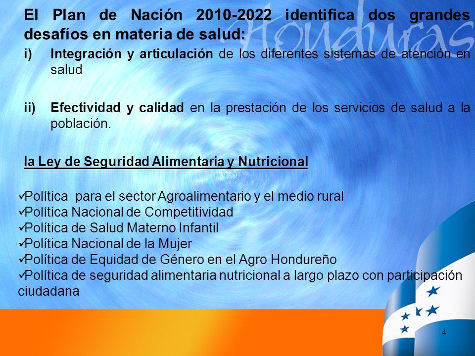 4 El Plan de Nación 2010-2022 identifica dos grandes desafíos en materia de salud: i)Integración y articulación de los diferentes sistemas de atención