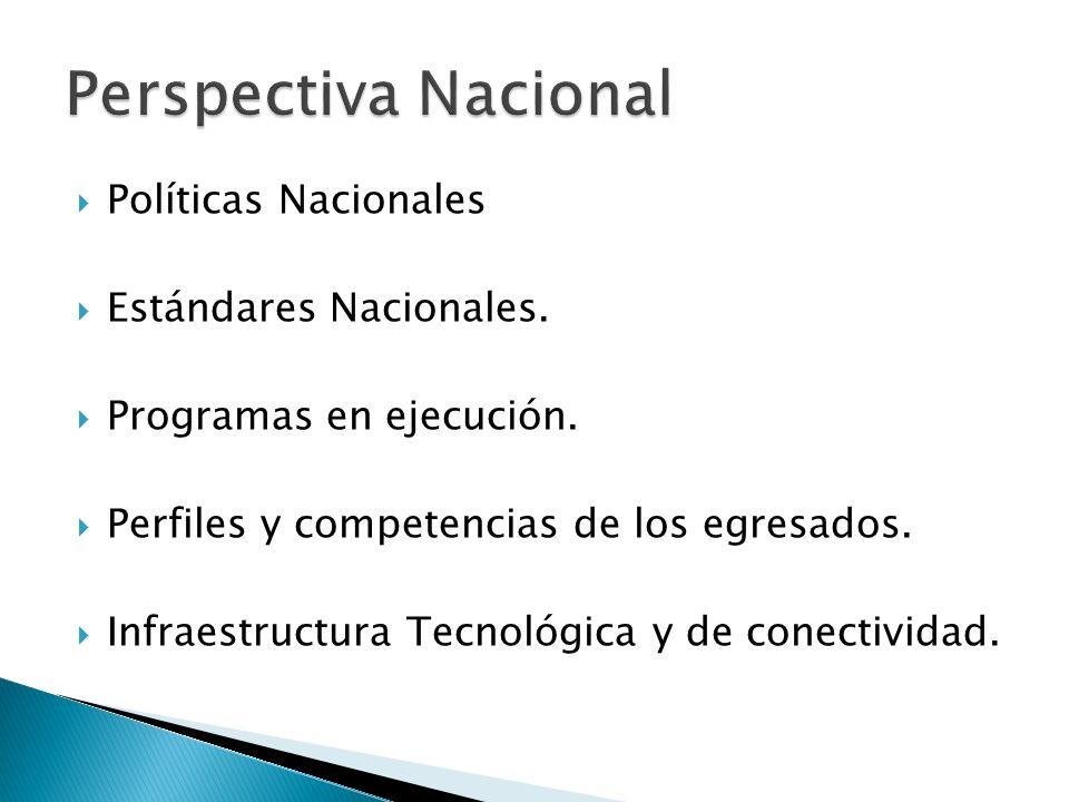 Políticas Nacionales Estándares Nacionales. Programas en ejecución.