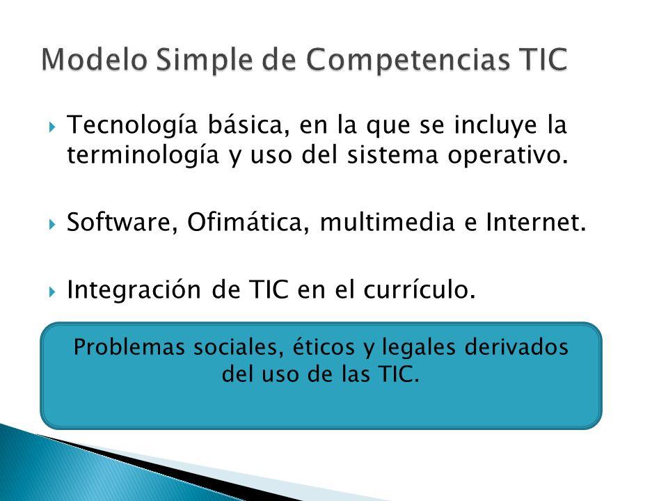 Tecnología básica, en la que se incluye la terminología y uso del sistema operativo.