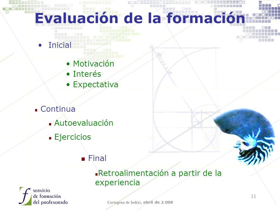 Cartagena de Indias, abril de 2.008 11 Evaluación de la formación Inicial Motivación Interés Expectativa n Continua n Autoevaluación n Ejercicios Final n Retroalimentación a partir de la experiencia