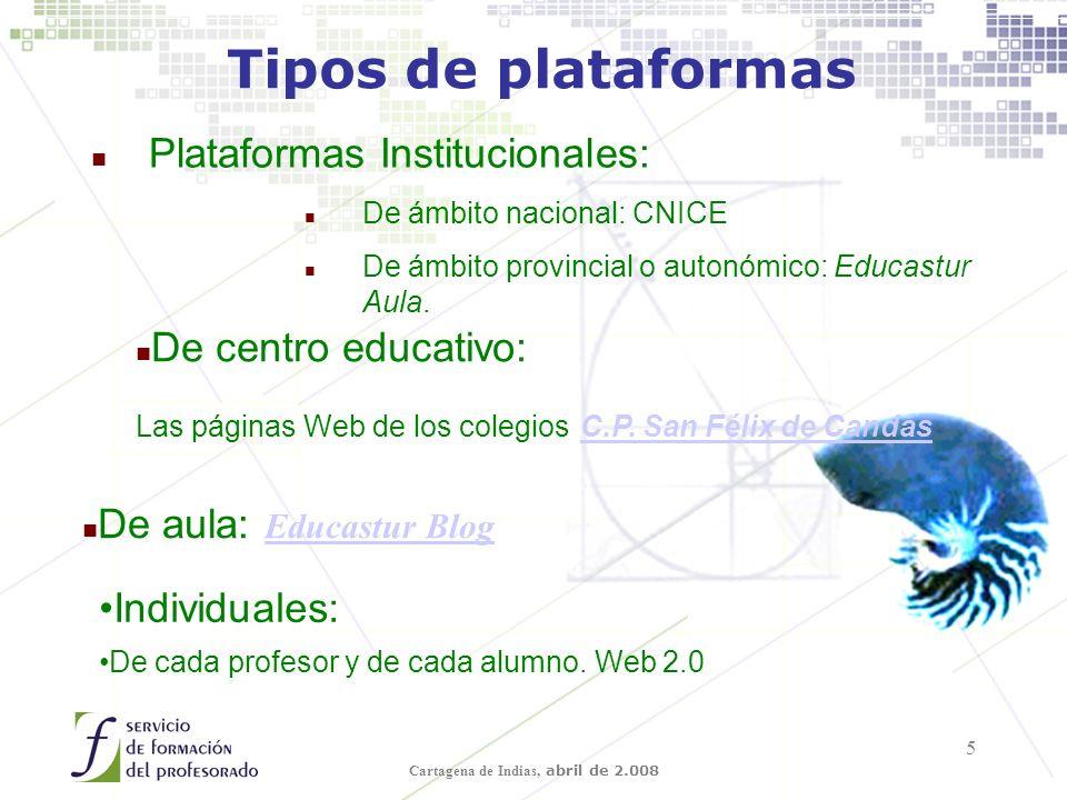 Cartagena de Indias, abril de 2.008 5 Tipos de plataformas n Plataformas Institucionales: n De ámbito nacional: CNICE n De ámbito provincial o autonómico: Educastur Aula.