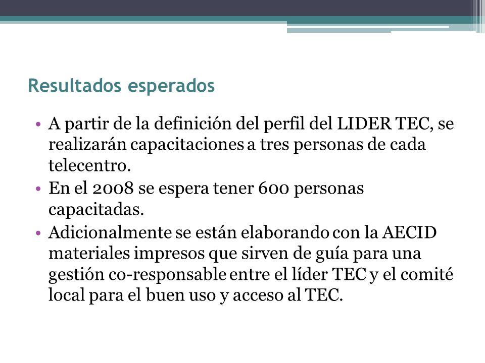 Resultados esperados A partir de la definición del perfil del LIDER TEC, se realizarán capacitaciones a tres personas de cada telecentro. En el 2008 s