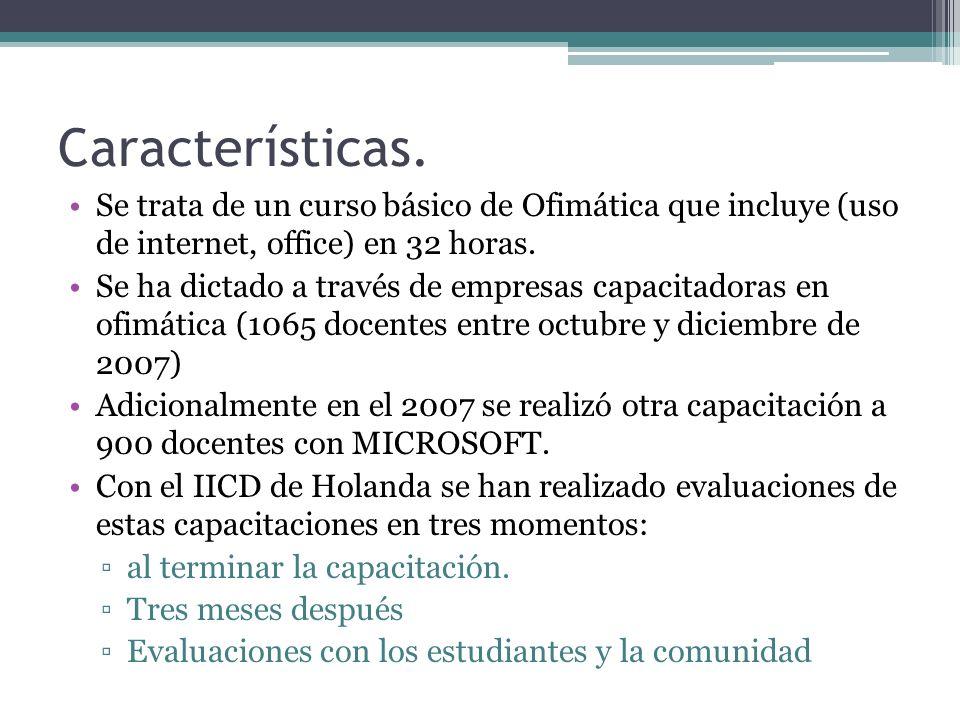 Características. Se trata de un curso básico de Ofimática que incluye (uso de internet, office) en 32 horas. Se ha dictado a través de empresas capaci