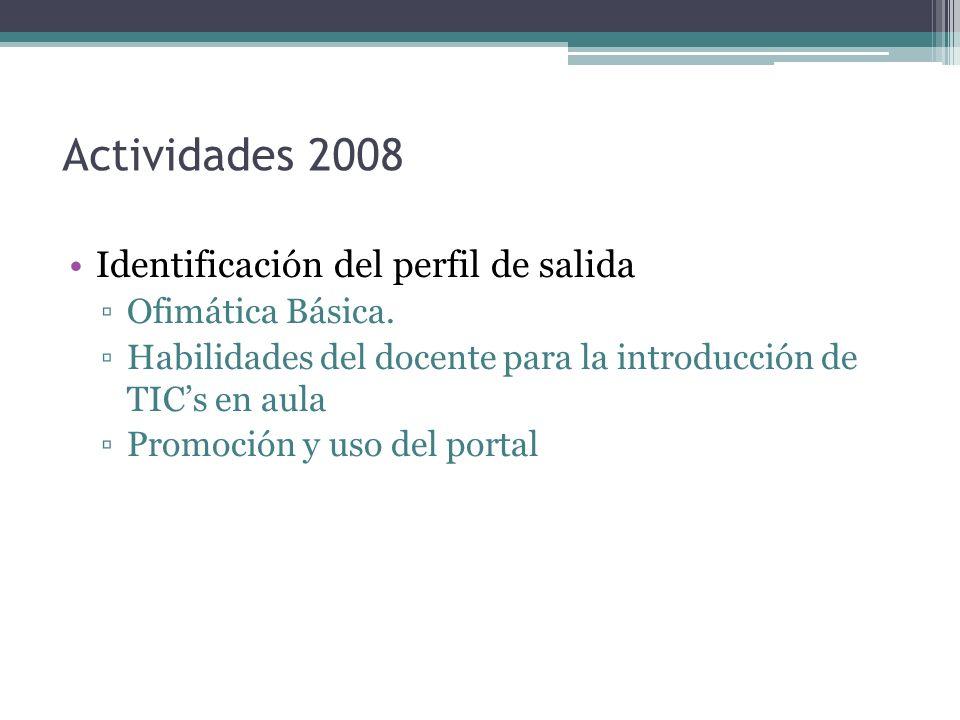 Actividades 2008 Identificación del perfil de salida Ofimática Básica. Habilidades del docente para la introducción de TICs en aula Promoción y uso de
