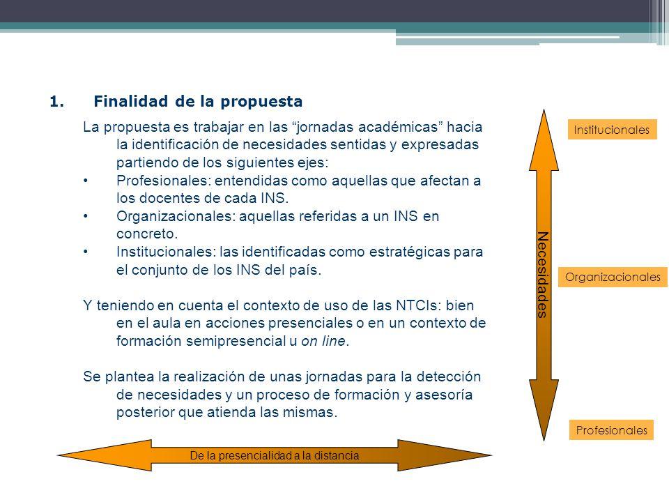 1.Finalidad de la propuesta La propuesta es trabajar en las jornadas académicas hacia la identificación de necesidades sentidas y expresadas partiendo