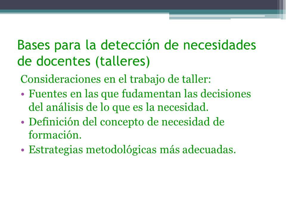 Bases para la detección de necesidades de docentes (talleres) Consideraciones en el trabajo de taller: Fuentes en las que fudamentan las decisiones de