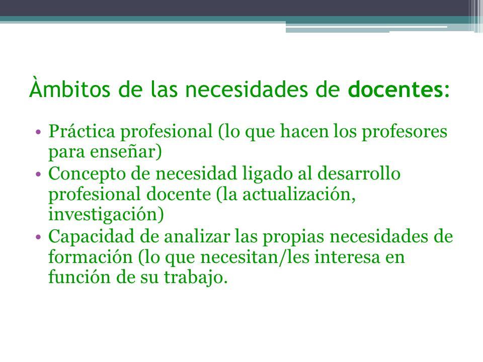 Àmbitos de las necesidades de docentes: Práctica profesional (lo que hacen los profesores para enseñar) Concepto de necesidad ligado al desarrollo pro
