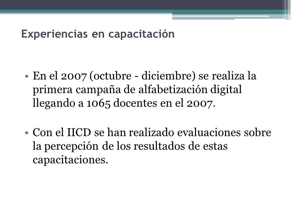 Experiencias en capacitación En el 2007 (octubre - diciembre) se realiza la primera campaña de alfabetización digital llegando a 1065 docentes en el 2