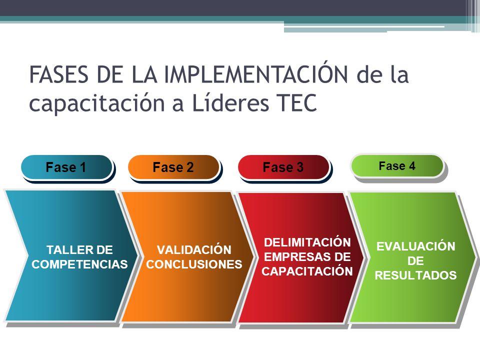FASES DE LA IMPLEMENTACIÓN de la capacitación a Líderes TEC Fase 1 TALLER DE COMPETENCIAS Fase 2 VALIDACIÓN CONCLUSIONES Fase 3 DELIMITACIÓN EMPRESAS