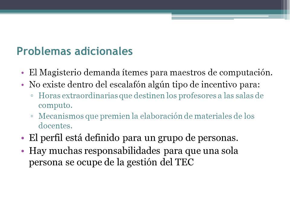 Problemas adicionales El Magisterio demanda ítemes para maestros de computación. No existe dentro del escalafón algún tipo de incentivo para: Horas ex