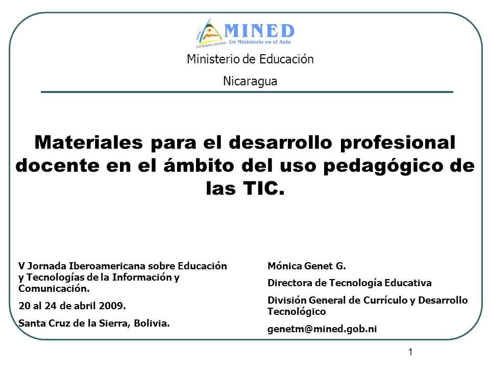 1 Materiales para el desarrollo profesional docente en el ámbito del uso pedagógico de las TIC. V Jornada Iberoamericana sobre Educación y Tecnologías