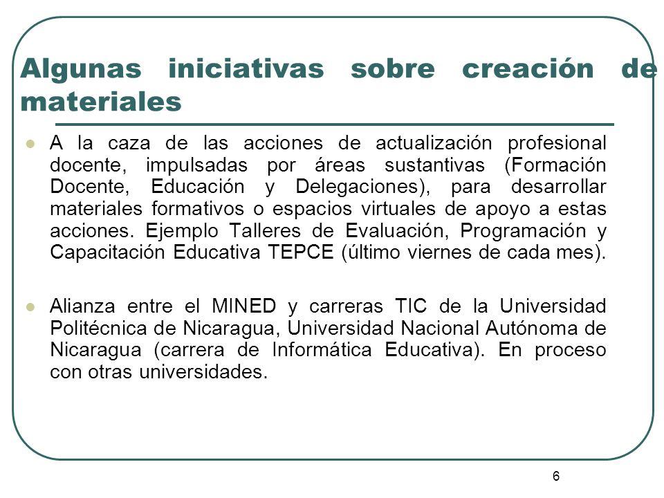 6 Algunas iniciativas sobre creación de materiales A la caza de las acciones de actualización profesional docente, impulsadas por áreas sustantivas (F