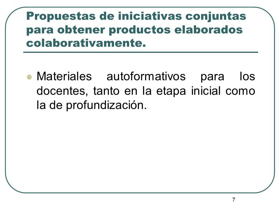 7 Propuestas de iniciativas conjuntas para obtener productos elaborados colaborativamente. Materiales autoformativos para los docentes, tanto en la et