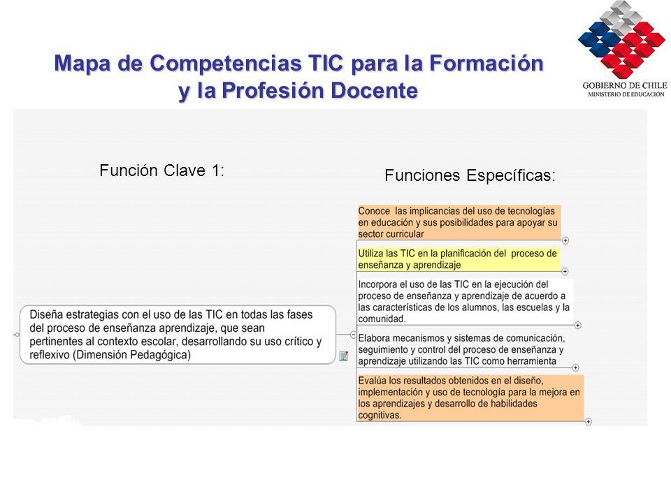 Mapa de Competencias TIC para la Formación y la Profesión Docente Función Clave 1: Funciones Específicas: