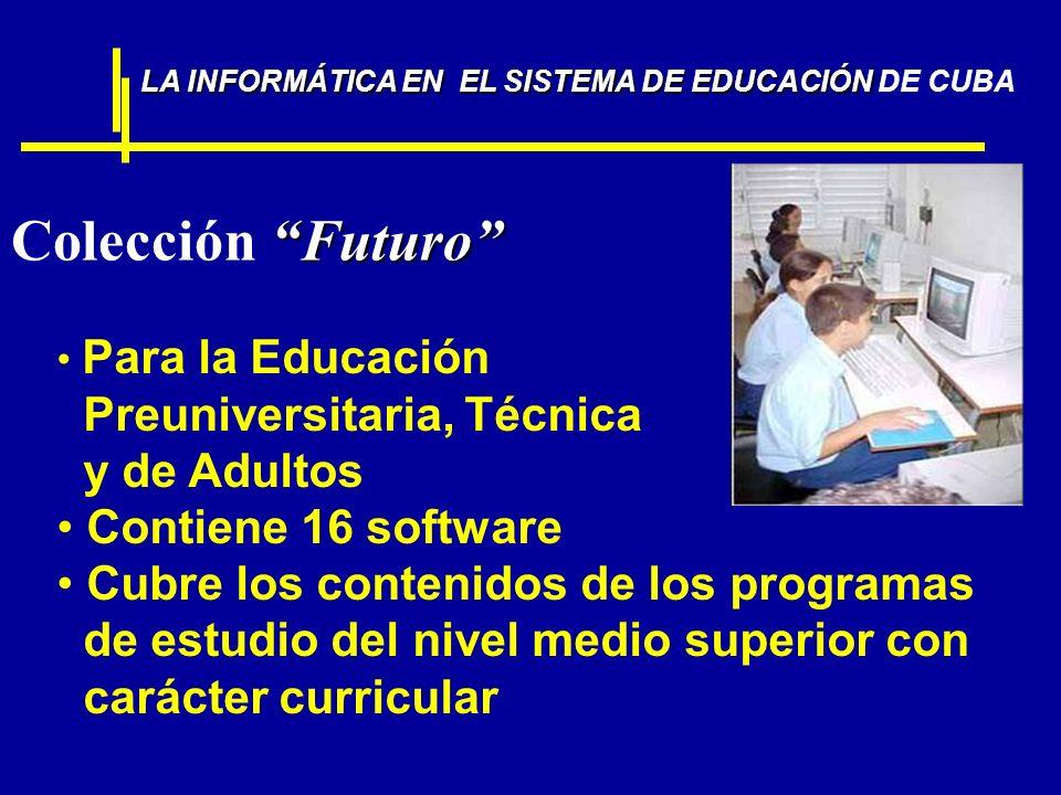 Futuro Colección Futuro Para la Educación Preuniversitaria, Técnica y de Adultos Contiene 16 software Cubre los contenidos de los programas de estudio