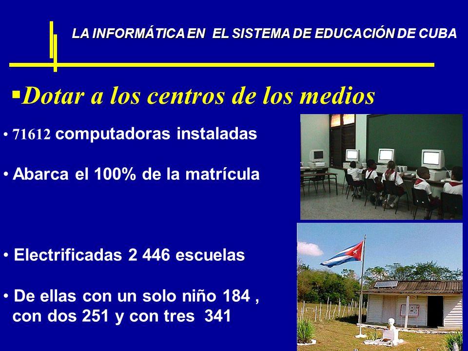 Dotar a los centros de los medios LA INFORMÁTICA EN EL SISTEMA DE EDUCACIÓN LA INFORMÁTICA EN EL SISTEMA DE EDUCACIÓN DE CUBA 71612 computadoras insta