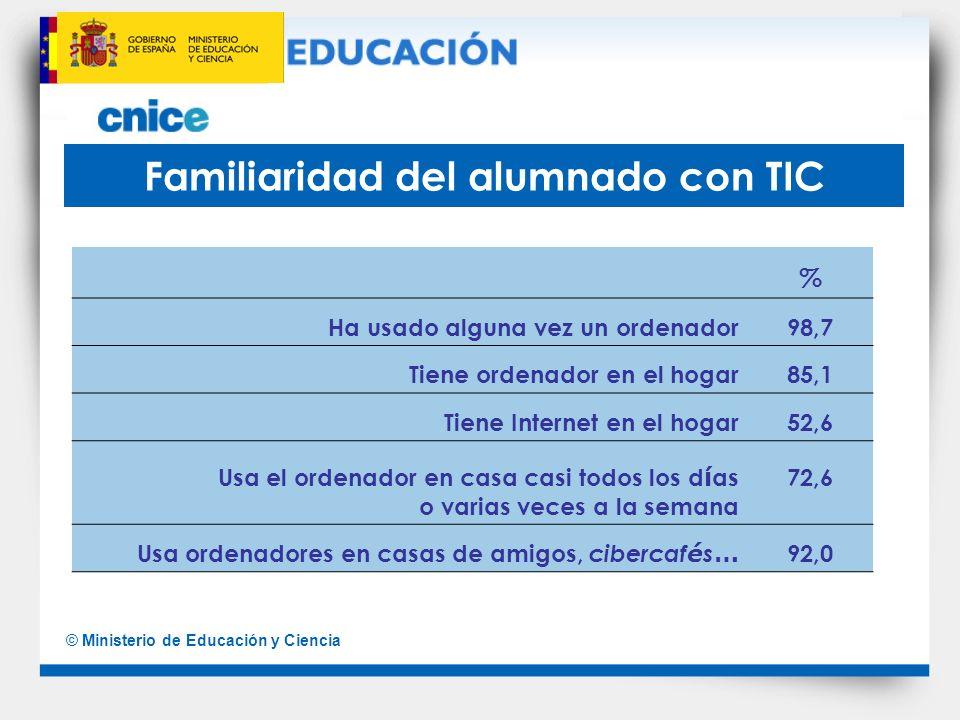 © Ministerio de Educación y Ciencia Familiaridad del alumnado con TIC % Ha usado alguna vez un ordenador98,7 Tiene ordenador en el hogar85,1 Tiene Int