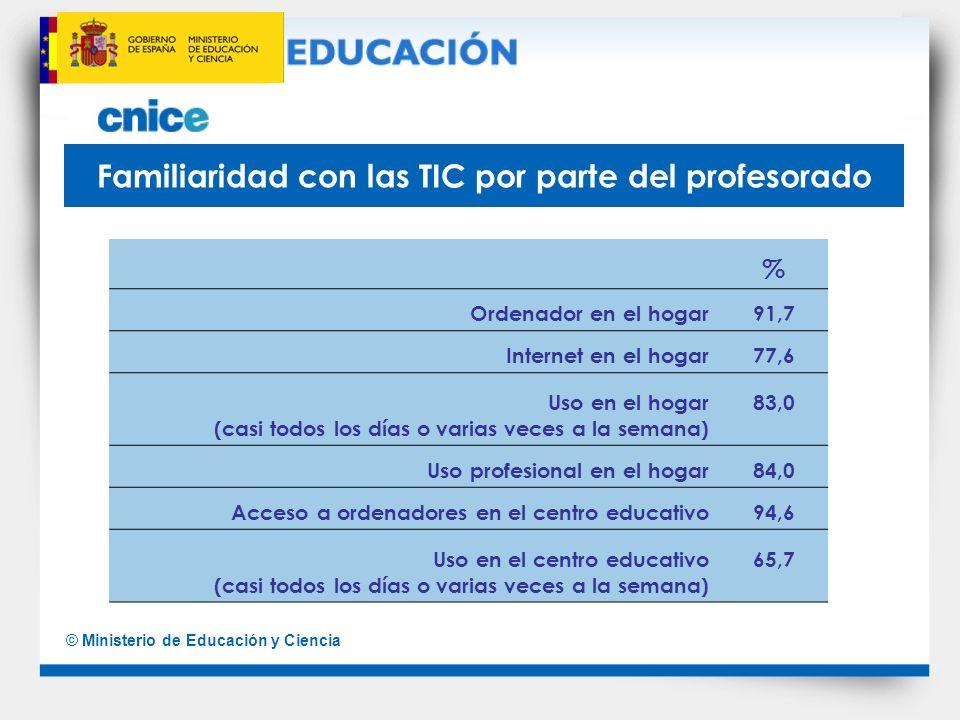 © Ministerio de Educación y Ciencia Familiaridad con las TIC por parte del profesorado % Ordenador en el hogar91,7 Internet en el hogar77,6 Uso en el