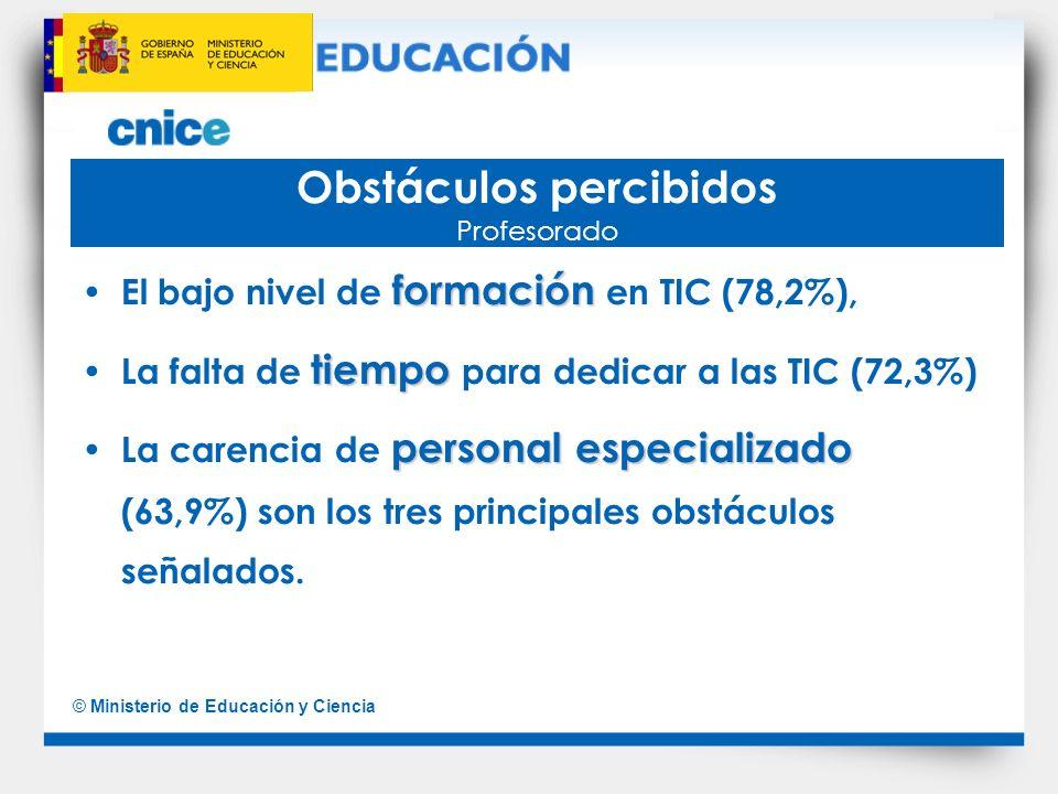 © Ministerio de Educación y Ciencia Obstáculos percibidos Profesorado formación El bajo nivel de formación en TIC (78,2%), tiempo La falta de tiempo p
