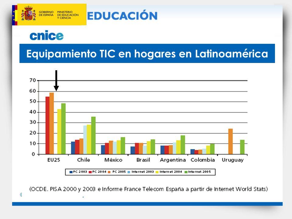 © Ministerio de Educación y Ciencia Penetración de internet en América Latina
