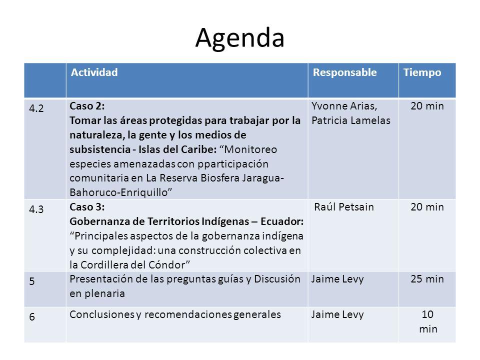 Agenda ActividadResponsableTiempo 4.2 Caso 2: Tomar las áreas protegidas para trabajar por la naturaleza, la gente y los medios de subsistencia - Islas del Caribe: Monitoreo especies amenazadas con pparticipación comunitaria en La Reserva Biosfera Jaragua- Bahoruco-Enriquillo Yvonne Arias, Patricia Lamelas 20 min 4.3 Caso 3: Gobernanza de Territorios Indígenas – Ecuador: Principales aspectos de la gobernanza indígena y su complejidad: una construcción colectiva en la Cordillera del Cóndor Raúl Petsain20 min 5 Presentación de las preguntas guías y Discusión en plenaria Jaime Levy25 min 6 Conclusiones y recomendaciones generalesJaime Levy10 min