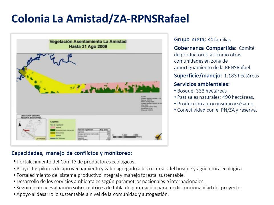 Colonia La Amistad/ZA-RPNSRafael Grupo meta: 84 familias Superficie/manejo: 1.183 hectáreas Servicios ambientales: Bosque: 333 hectáreas Pastizales na