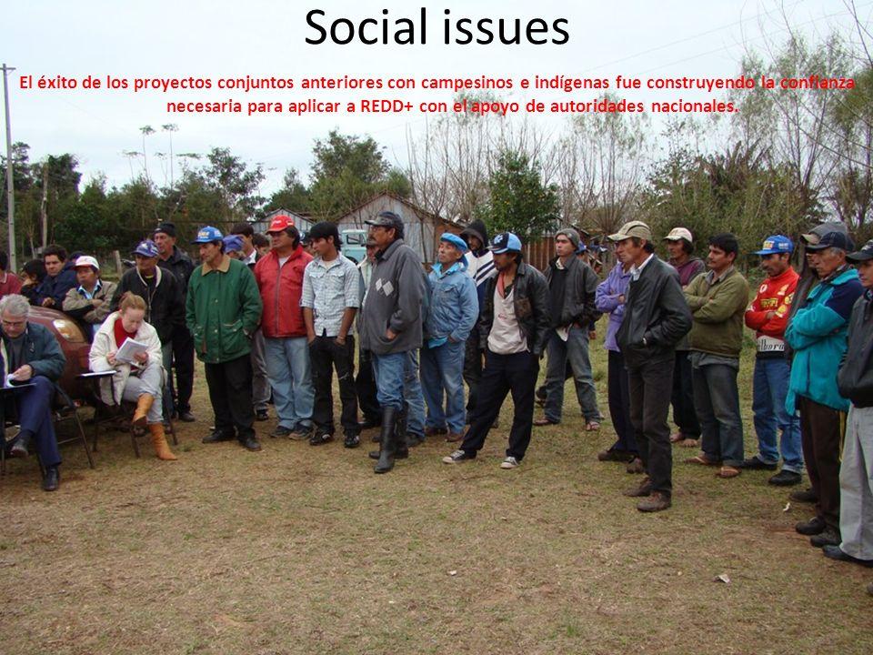 Social issues El éxito de los proyectos conjuntos anteriores con campesinos e indígenas fue construyendo la confianza necesaria para aplicar a REDD+ c