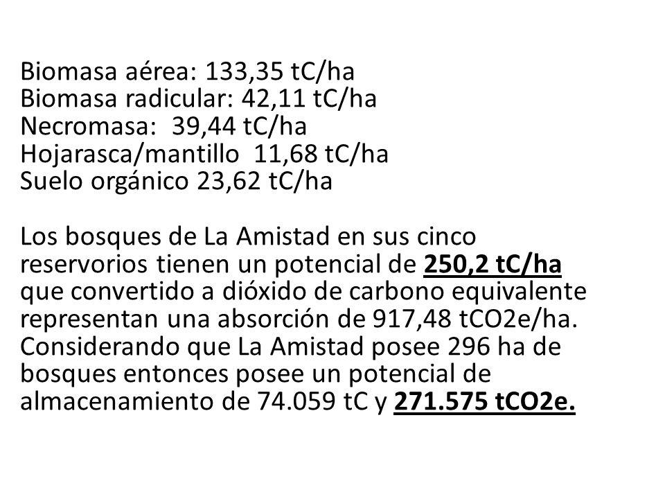 Biomasa aérea: 133,35 tC/ha Biomasa radicular: 42,11 tC/ha Necromasa: 39,44 tC/ha Hojarasca/mantillo 11,68 tC/ha Suelo orgánico 23,62 tC/ha Los bosque