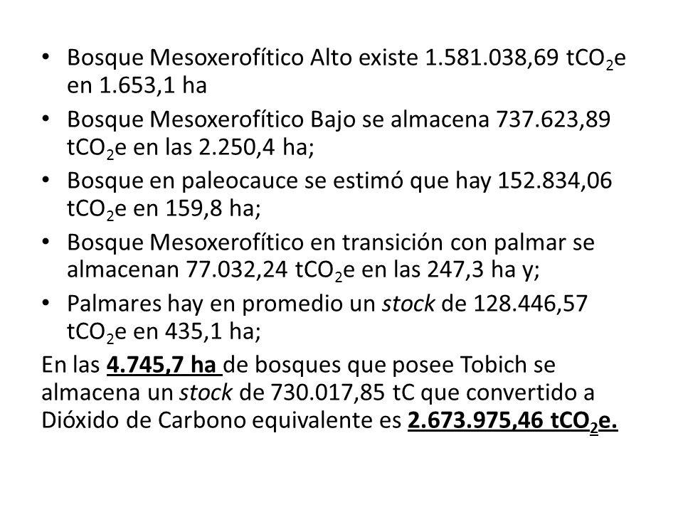 Bosque Mesoxerofítico Alto existe 1.581.038,69 tCO 2 e en 1.653,1 ha Bosque Mesoxerofítico Bajo se almacena 737.623,89 tCO 2 e en las 2.250,4 ha; Bosq