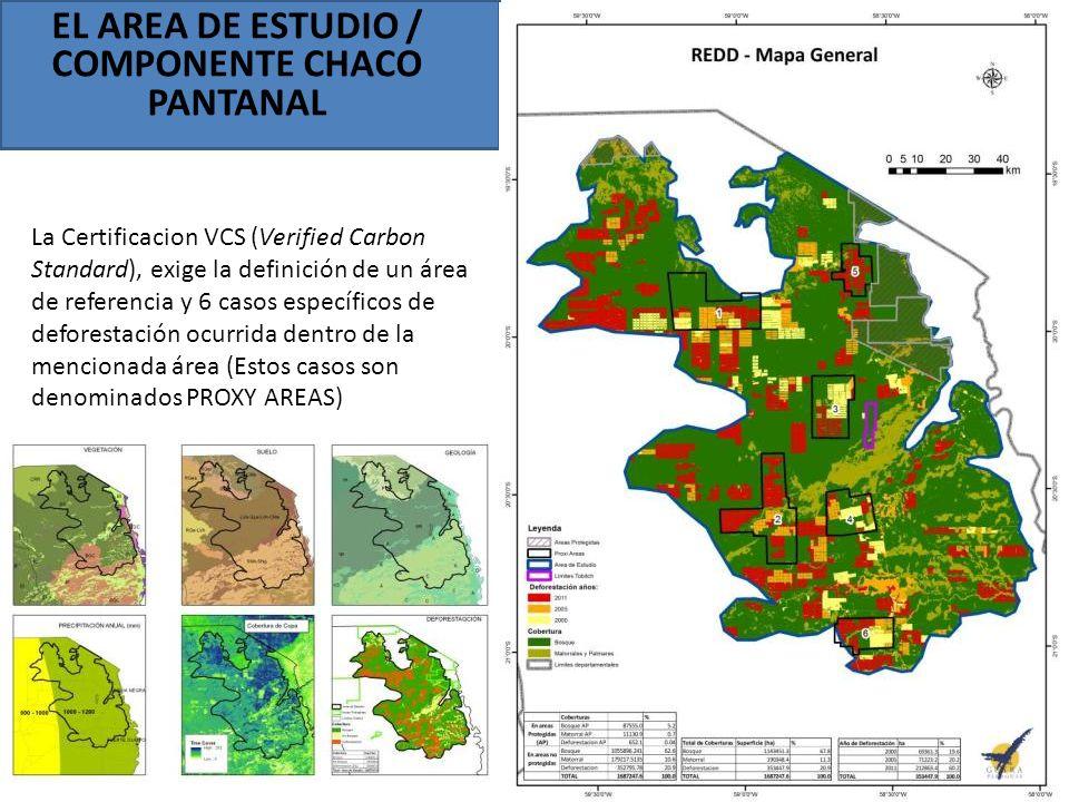 EL AREA DE ESTUDIO / COMPONENTE CHACO PANTANAL La Certificacion VCS (Verified Carbon Standard), exige la definición de un área de referencia y 6 casos