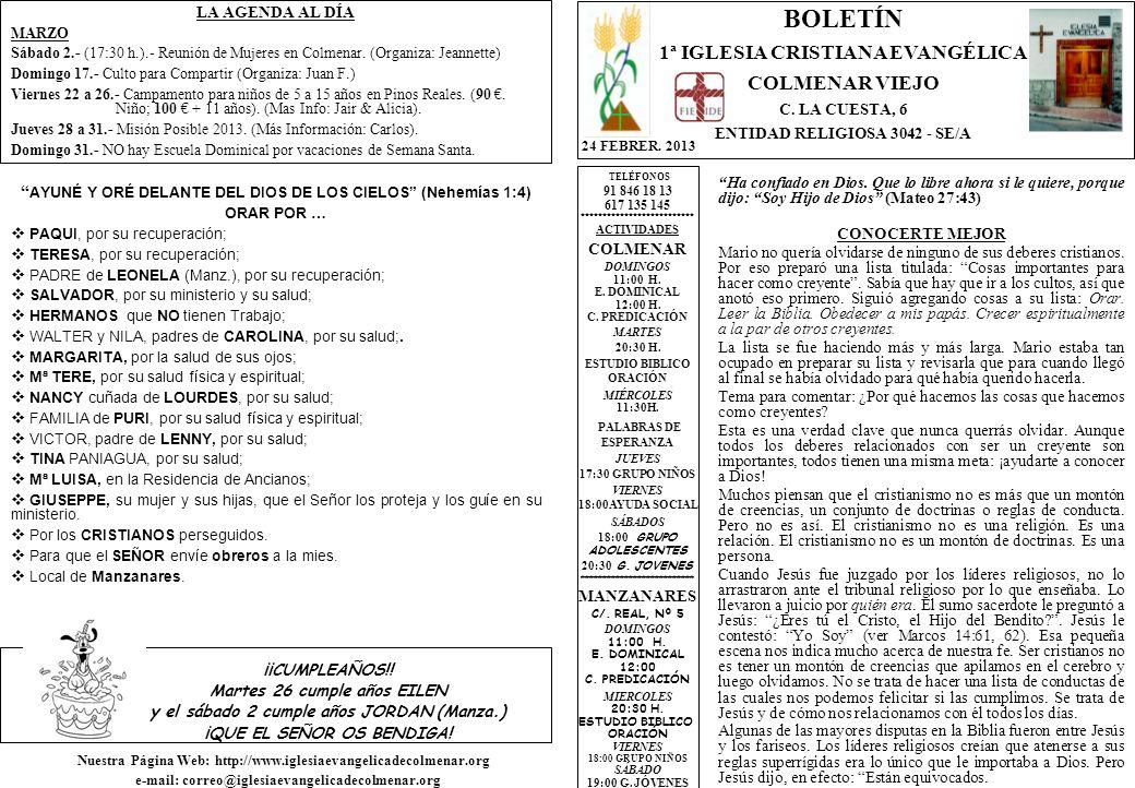 LA AGENDA AL DÍA MARZO Sábado 2.- (17:30 h.).- Reunión de Mujeres en Colmenar.