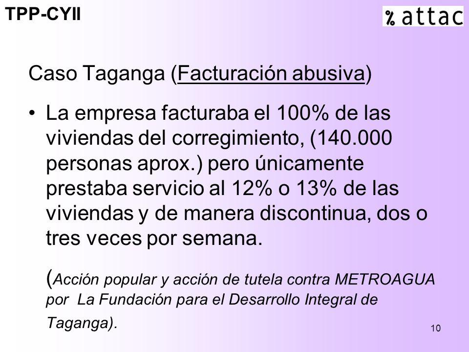10 Caso Taganga (Facturación abusiva) La empresa facturaba el 100% de las viviendas del corregimiento, (140.000 personas aprox.) pero únicamente prestaba servicio al 12% o 13% de las viviendas y de manera discontinua, dos o tres veces por semana.
