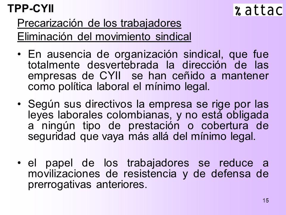 15 Precarización de los trabajadores Eliminación del movimiento sindical En ausencia de organización sindical, que fue totalmente desvertebrada la dirección de las empresas de CYII se han ceñido a mantener como política laboral el mínimo legal.