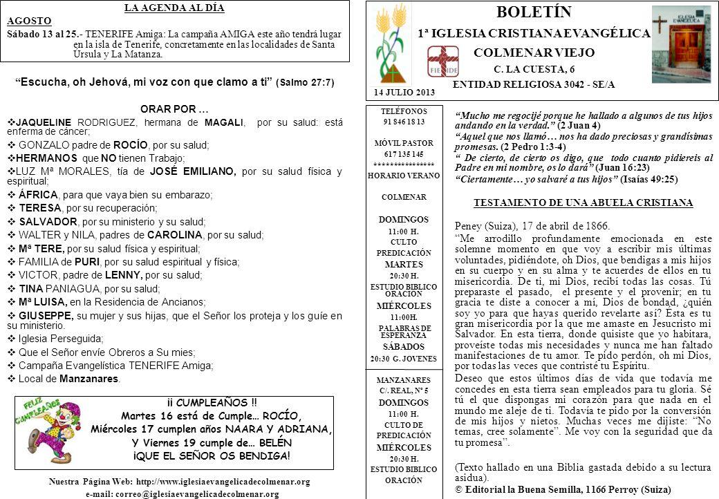 LA AGENDA AL DÍA AGOSTO Sábado 13 al 25.- TENERIFE Amiga: La campaña AMIGA este año tendrá lugar en la isla de Tenerife, concretamente en las localidades de Santa Úrsula y La Matanza.