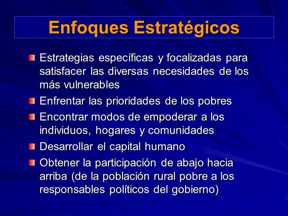 Estrategias específicas y focalizadas para satisfacer las diversas necesidades de los más vulnerables Enfrentar las prioridades de los pobres Encontra