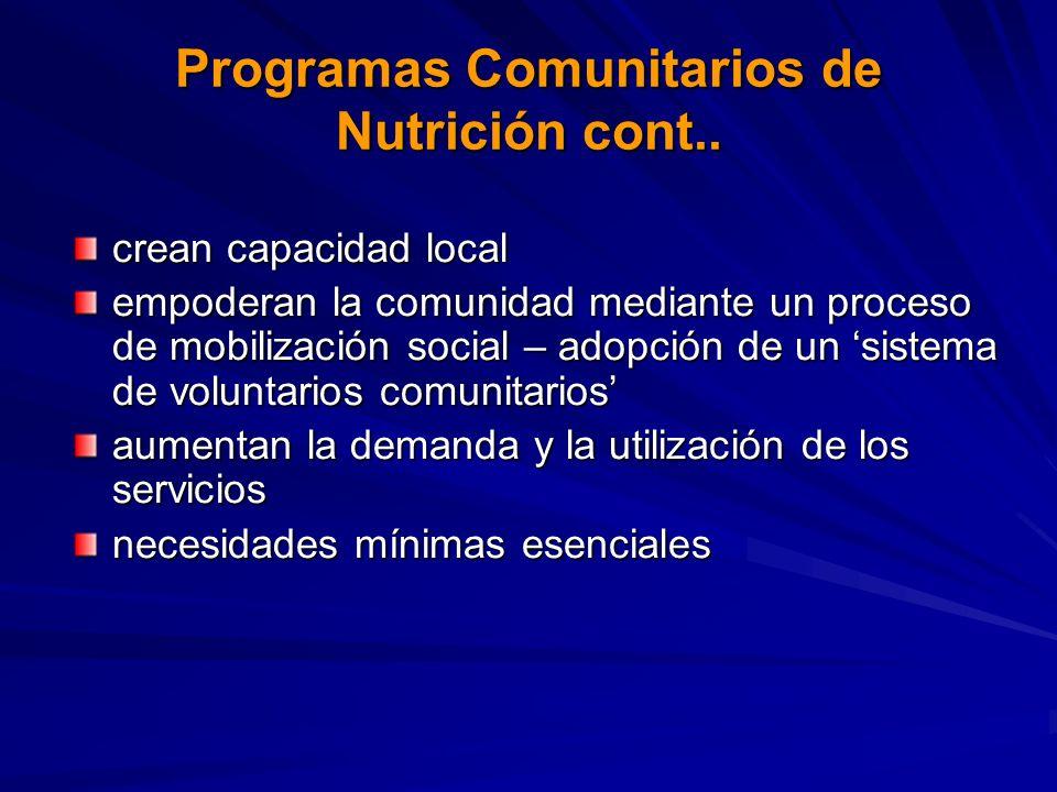 Programas Comunitarios de Nutrición cont.. crean capacidad local empoderan la comunidad mediante un proceso de mobilización social – adopción de un si