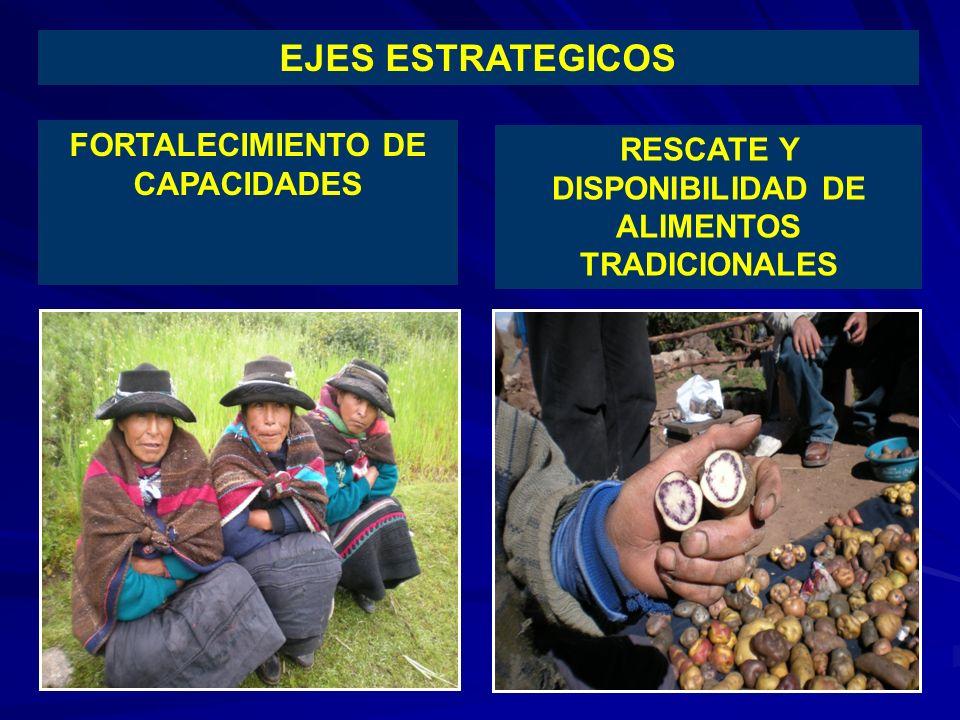 FORTALECIMIENTO DE CAPACIDADES RESCATE Y DISPONIBILIDAD DE ALIMENTOS TRADICIONALES EJES ESTRATEGICOS