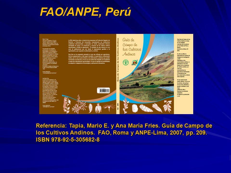 Referencia: Tapia, Mario E. y Ana María Fries. Guía de Campo de los Cultivos Andinos. FAO, Roma y ANPE-Lima, 2007, pp. 209. Referencia: Tapia, Mario E