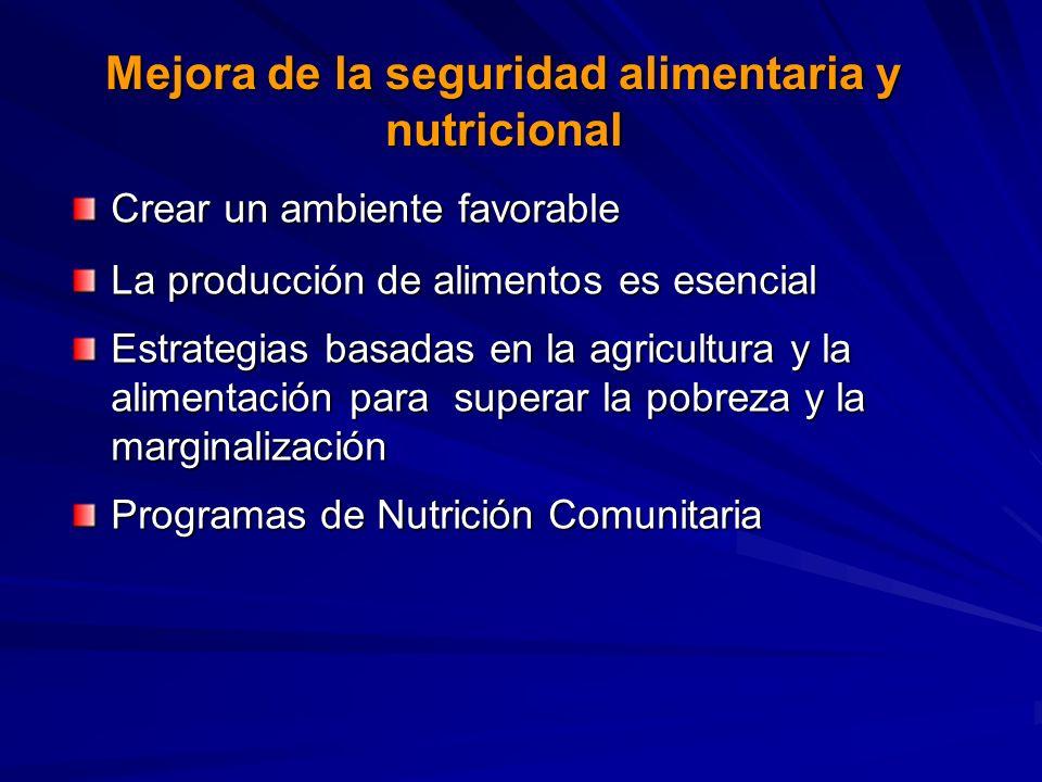 Mejora de la seguridad alimentaria y nutricional Crear un ambiente favorable La producción de alimentos es esencial Estrategias basadas en la agricultura y la alimentación para superar la pobreza y la marginalización Programas de Nutrición Comunitaria